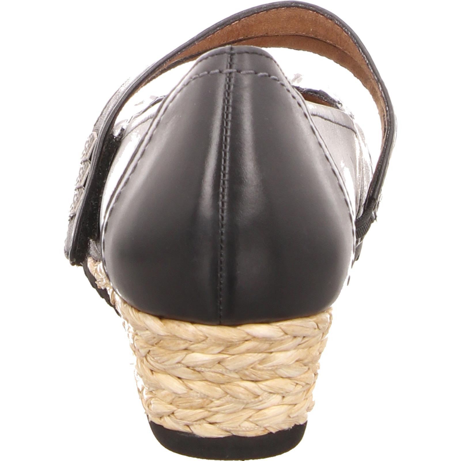 Jana Damen Spangenschuh mit Keilabsatz Leder schwarz