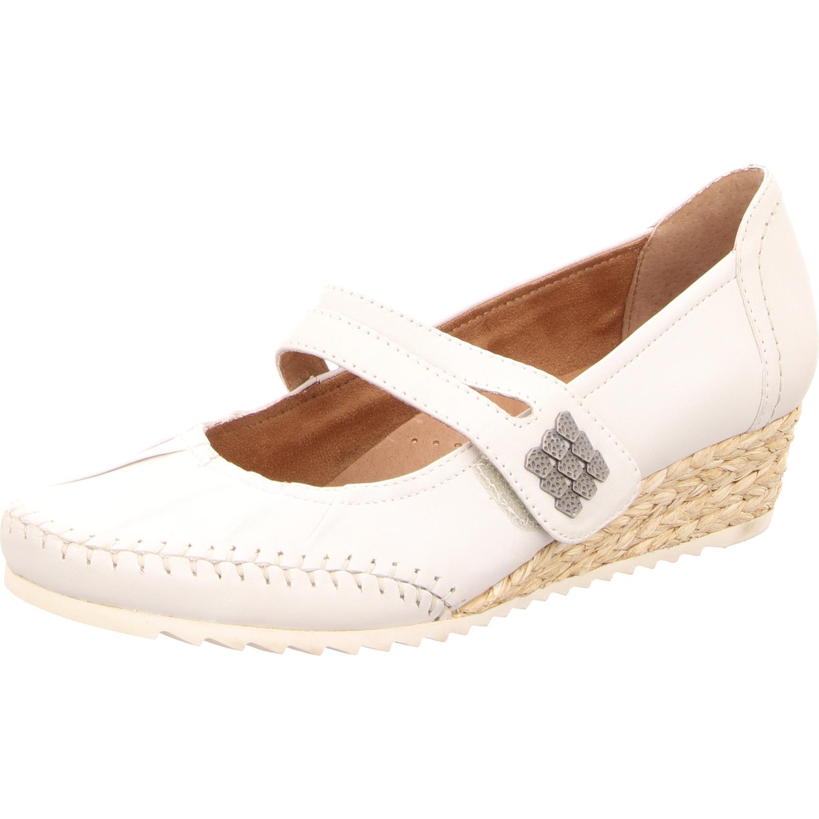 Jana Damen Sandaleette mit Keilabsatz Leder weiß